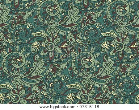 Seamless Vector Pattern With Traditional Oriental Colorful Floral Ornament