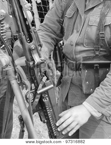 Soldiers With Heavy Machine Gun Rifle