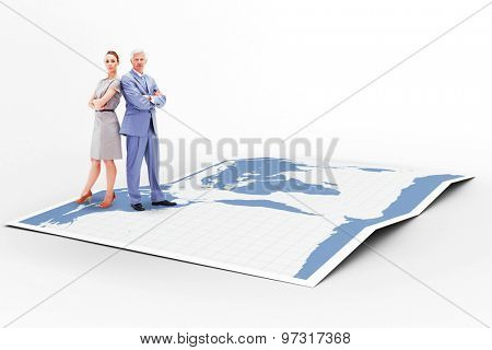 Serious businessman standing back to back with a woman against world map
