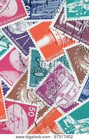 Old German Stamps About Industry And Technics (editorial)