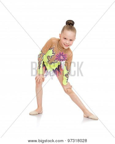 Girl gymnast doing the splits