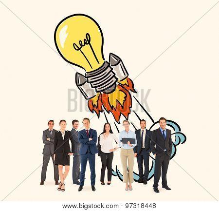 Business team against light bulb rocket