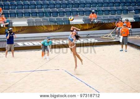 Rome, Italy - June 14 2011. Beach Volleyball World Championships. Action During Match