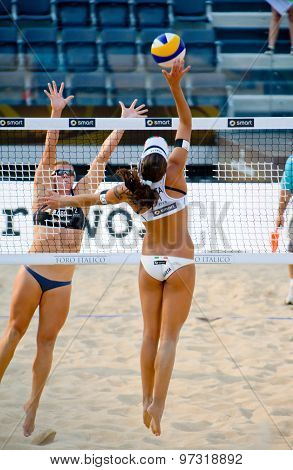 Rome, Italy - June 15 2011. Beach Volleyball World Championships. Action During Match
