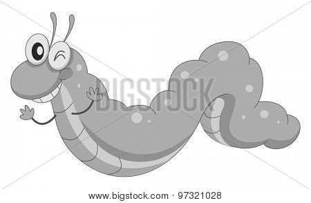 Happy worm crawling in black and white