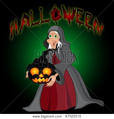Halloween Night Background With  Witch And Pumpkins. Halloween Banner .vector Illustration