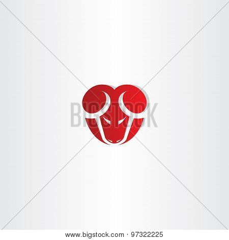 Red Stylized Vector Ram Icon