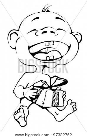 cartoon drawing of a child who laughs