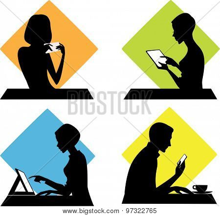 silhouettes of people with phones, tablets