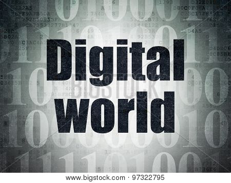 Information concept: Digital World on Digital Paper background