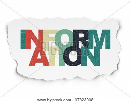 Data concept: Information on Torn Paper background