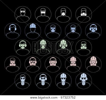 Safety and health protection equipment. Collection of safety and health protection equipment to be worn on head. Set of safety equipment signs. Vector illustration.