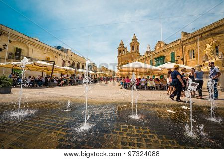 Marsaxlokk, Malta - 24 May 2015: Parish Church of Our lady Of Pompei in fishing village of Marsaxlokk(Marsascala)