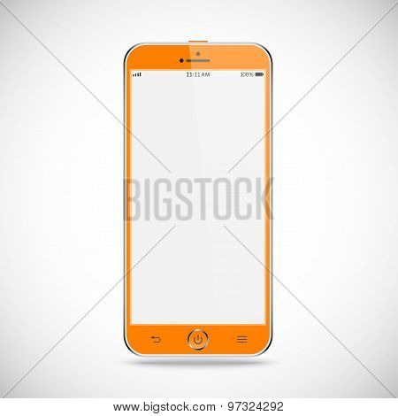 Realistic Detailed Smartphone With Touch Screen Isolated On A Gray Background. Stock Vector Illustra