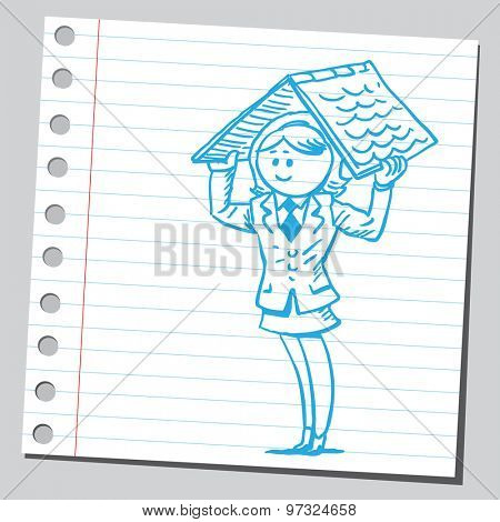 Businesswoman holding roof