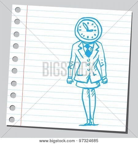 Businesswoman clock