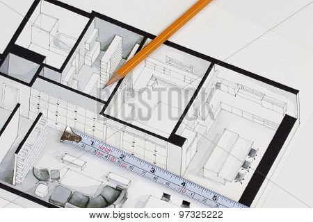 Metal measuring tape and sharp pencil on authentic artistic inspiring floor plan home fragment