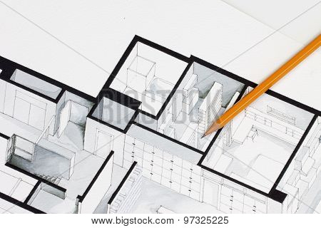 Sharp orange glazed regular pencil on isometric floor plan real estate flat interior decoration