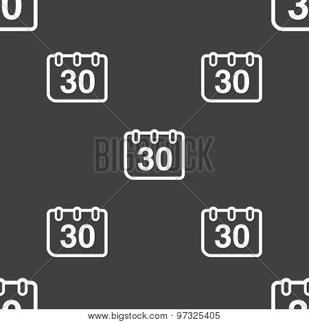 Calendar Icon Sign. Seamless Pattern On A Gray Background. Vector