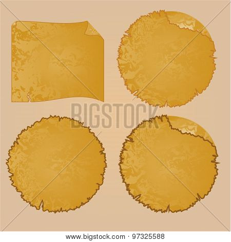 Round Frames Or Damaged Equipment And Tattered Paper Vintage  Vector