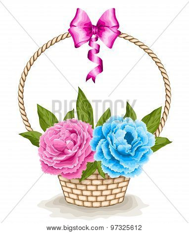 Basket With Peonies