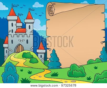 Castle and parchment theme image - eps10 vector illustration.