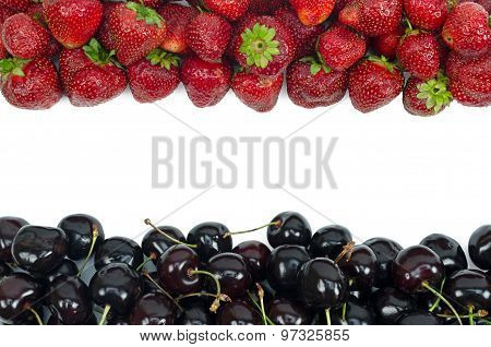 Sweet cherries and strawberry isolated on white background