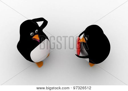 3D One Penguin Offering Heart To Another Penguin Concept