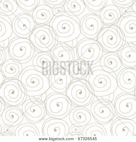 Seamless pattern with spiral curls. Vector repeating texture. Stylish background with linear element