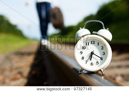 Clock Is Standing On Rails