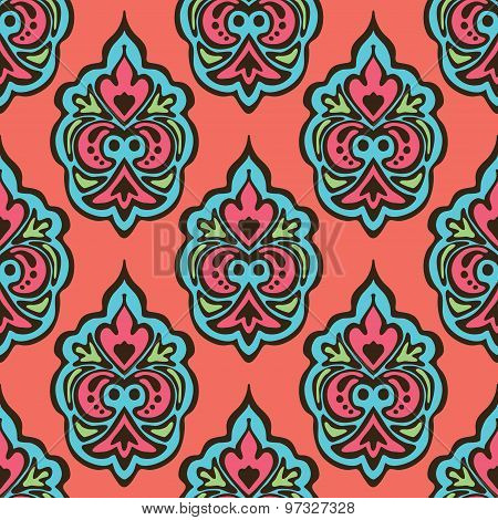cute seamless floral damask pattern vector background