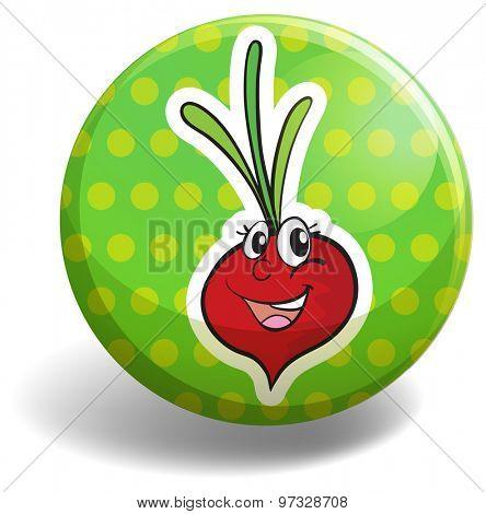 Radish with happy face on green badge