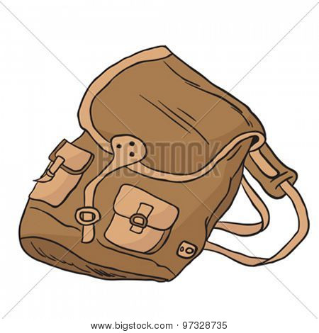 camping bag cartoon illustration