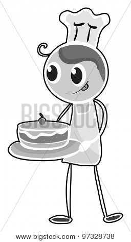 Baker in apron holding a tray of cake