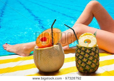 Tropical drinks at the swimming pool