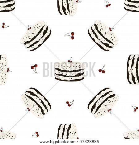 Seamless pattern with birthday cake