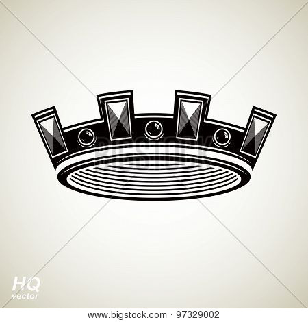 Royal design element, regal icon. Vector majestic crown, luxury stylized coronet illustration. King