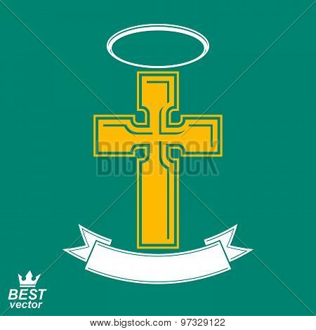 Religious cross emblem with nimbus and decorative ribbon, spiritual idea symbol. Christianity icon
