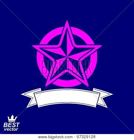 Vector simple pentagonal star with decorative ribbon, decorative emblem.