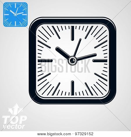 Vector square wall clock with stylized clockwise, additional version included. Business idea