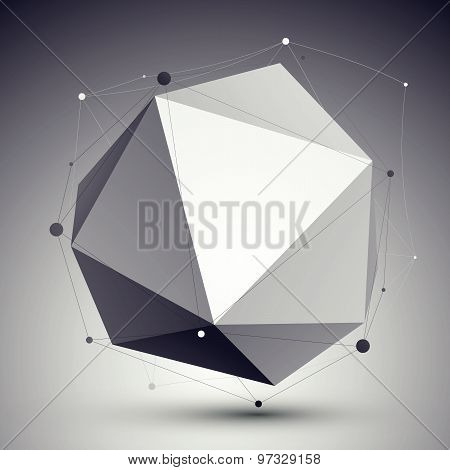 Geometric vector abstract 3D complicated lattice backdrop, eps8 technological illustration