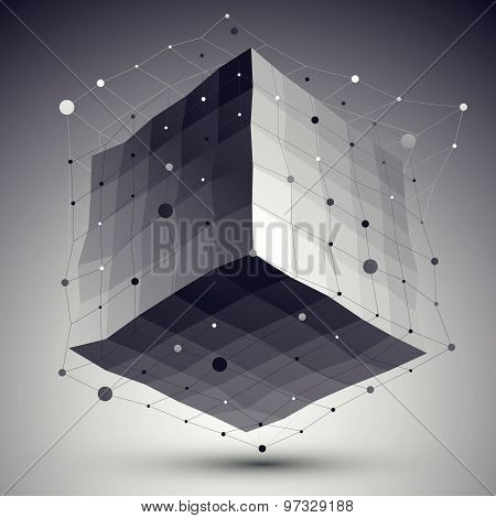 Abstract deformed vector monochrome cube with lines mesh placed over dark background.