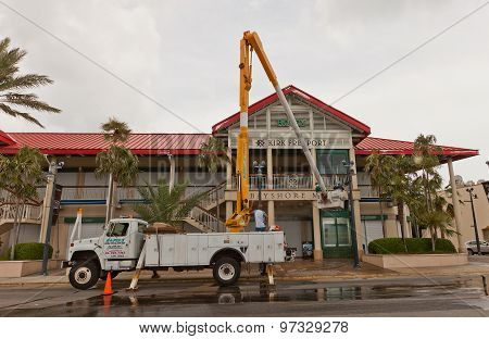Washing Of Facade Of Trade Center In Grand Cayman