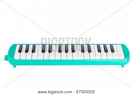 Musical Green Melodian Isolated On White