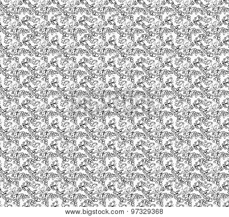 Seamless pattern with drawing butterfly