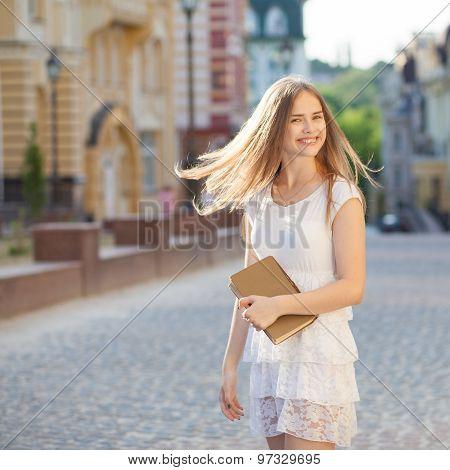 Happy Student On Street
