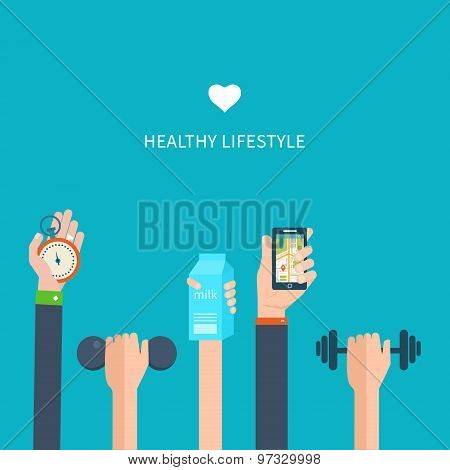 Modern flat vector icons of healthy lifestyle, fitness and physical activity