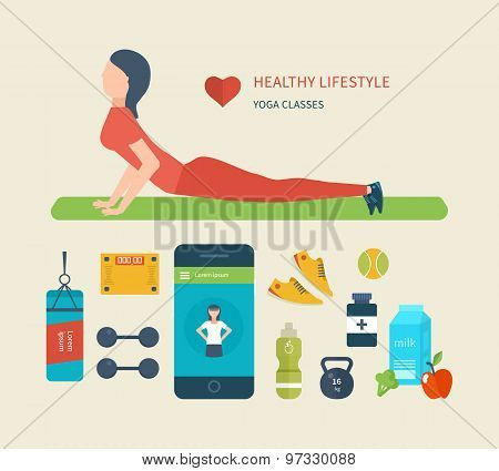 Concept of healthy lifestyle.  Young woman practices yoga.