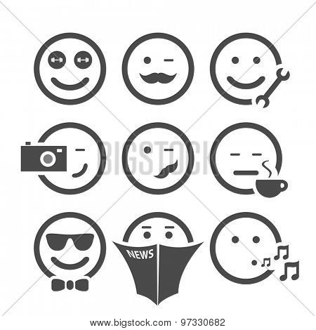 Emoticon Set with Different Faces
