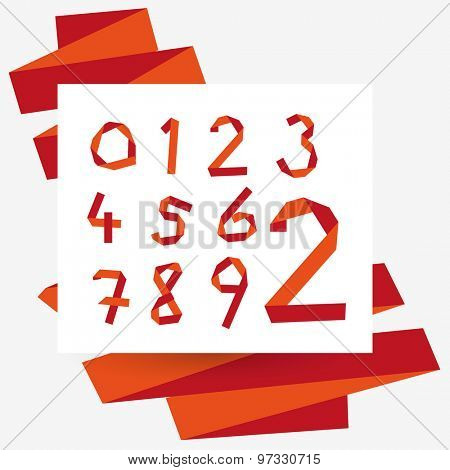 Origami numbers set, typography collection. Red colors.